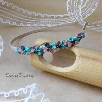Нежный бирюзово розовый обруч с цветами, обруч для волос, миниатюрные цветы