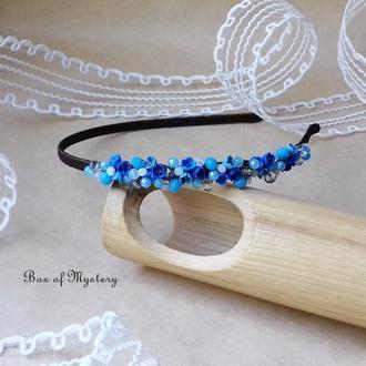 Синий обруч с цветами, обруч для волос, цветы, подарок девушке