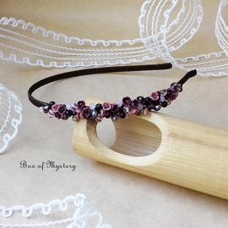 Бордовый обруч с миниатюрными цветами, обруч для волос, цветы, подарок девушке