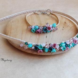 Обруч и браслет с миниатюрными цветами ручной работы, нежное бирюзово розовое украшение