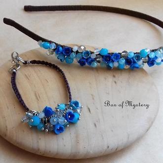 Обруч и браслет с миниатюрными цветами ручной работы, синее украшение