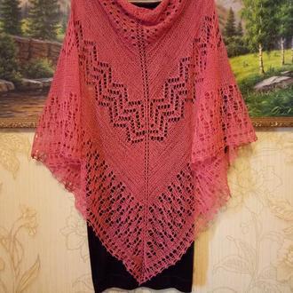 Летняя ажурная шаль из хлопка со льном