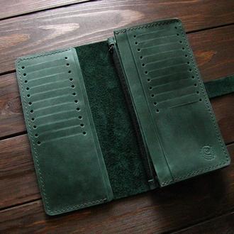 Большой кошелёк без монетницы зеленый