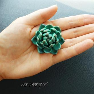 Брошь с цветком суккулента