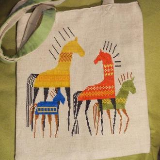 """Еко-торбинка з вищивкою ручної роботи """"Етно-коні"""""""