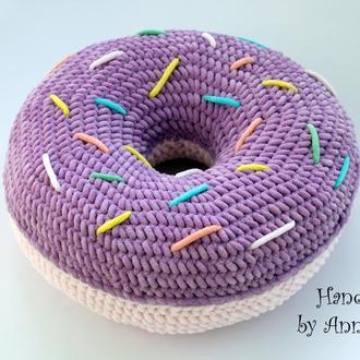 Плюшева подушка-донат (Плюшевая подушка, подушка-донат, подушка пончик)