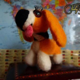 Собачка-очаровашка (валяные игрушки из английской шерсти)