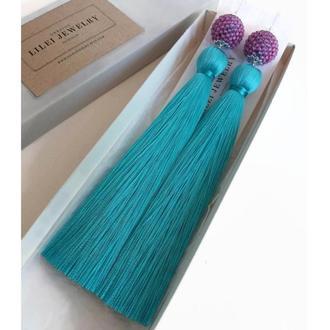 Бирюзовые сережки-кисточки, длинные шелковые серьги-кисти LILEI JEWELRY