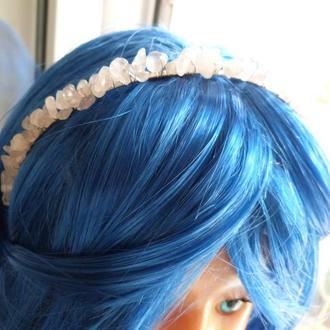 Ободок(Обруч) для волос из проволоки и бусин(кварцевая крошка)