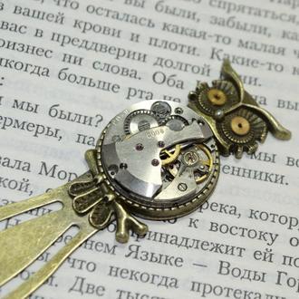 Запонки сова в стиле Стимпанк Steampunk