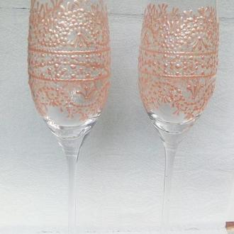Перламутровые жемчуженки, бокалы на свадьбу, точечная роспись кружево