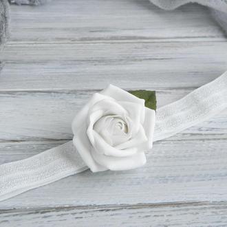 Повязка с розой для девочки, Детская повязка для малышки