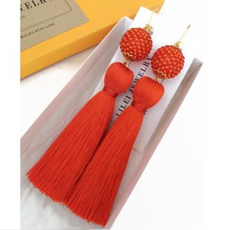 Оранжевые шелковые серьги-кисти LILEI JEWELRY