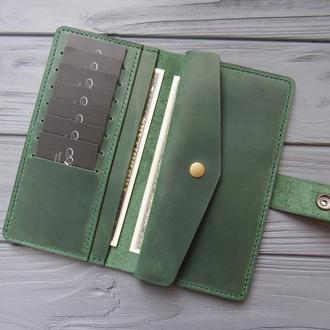 Кожаный женский кошелёк MILANA_зеленый_550
