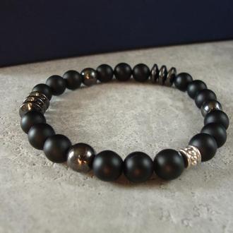 Черный мужской браслет из камня