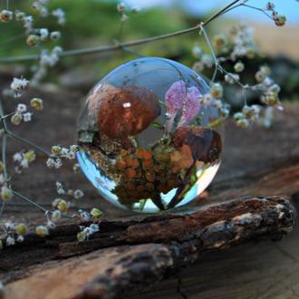 Кулон шар с грибами и мхом