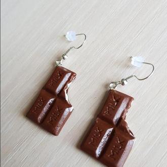"""Серьги """"Молочный шоколад"""" из полимерной глины"""