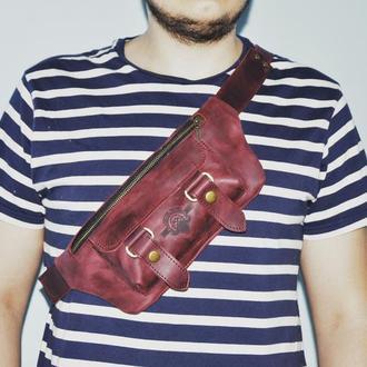 """Поясная сумка """"Кайл"""" в винном цвете"""