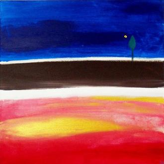 Дары. Картина абстракция, сине-красная квадратная абстрактная картина
