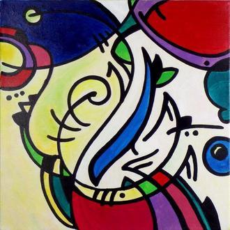Голубиная почта (письмо). Картина абстрактная, абстракция акрилом на холсте, узоры витраж композиция