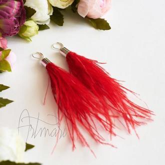 Серьги из перьев Красные