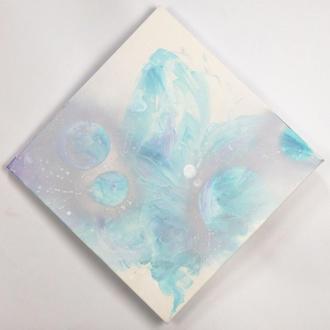 Гармония. Авторская абстрактная живопись, абстракция бирюзовая картина ромб