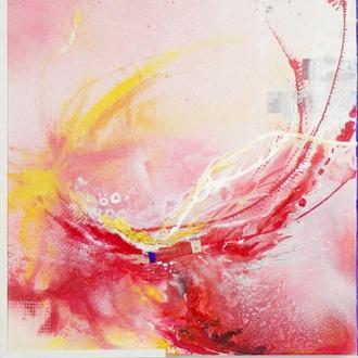 Душа наизнанку. Авторская абстракция, абстрактная картина mixed media и акрил, квадратная картина