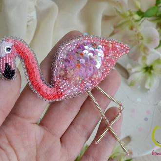 """Брошь Розовый Фламинго """" Райская птичка """""""