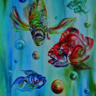 Картина маслом «В прозрачной воде», рыбки, 70  х 50 см