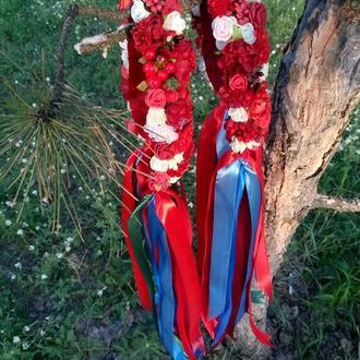 Український фольклорний вінок Віночок з квітів Украинский венок Веночек с лентами