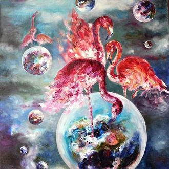 «Фламинго», картина маслом, 80х60см, космос