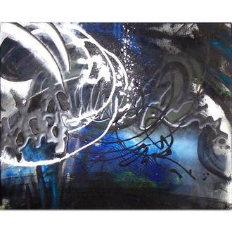 Граффити стальных пещер. Абстрактная картина, черно-белая абстракция