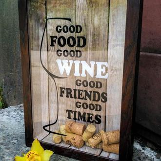 Копилка для винных пробок (глубокая) (Good Food Good Wine Good Friends Good Times)
