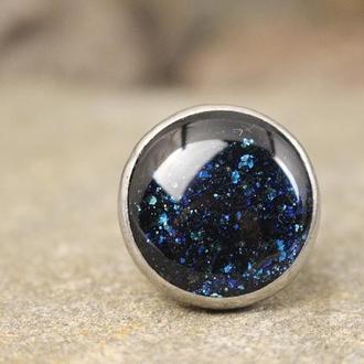 Кольцо Космос Кольцо с темно-синим стеклом