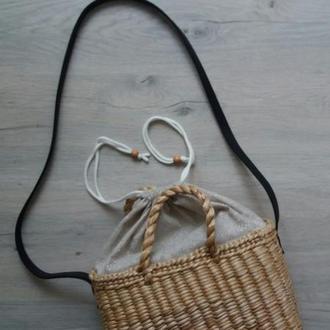 Сумка соломенная плетеная с кулиской #Декор солом'яна сумка з шнурком затяжкою з шкіряною ручкою