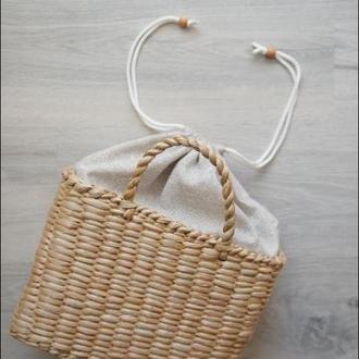 Сумка соломенная плетеная с кулиской #декор солом'яна сумка
