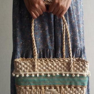 Сумка соломенная плетеная солом'яна сумка
