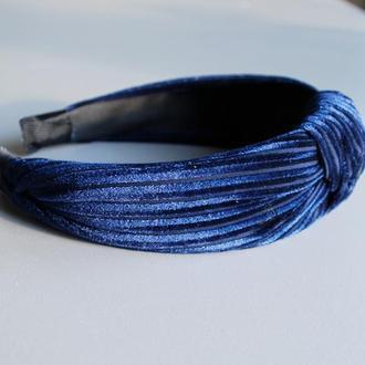 Обруч синий бархатный / ободок узел / повязка велюр / аксессуар для волос в ретро стиле