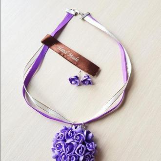 """Комплект """"Цвет настроения фиолетовый"""" из полимерной глины"""