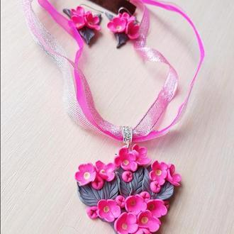"""Комплект """"Серо-розовый стиль"""" из полимерной глины"""