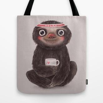 Эко сумка Sloth I♥yoga. Сумка из ткани шоппер, тряпичная сумка. Летняя сумка из льна с рисунком