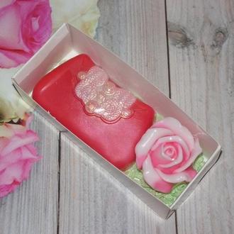 """Набор сувенирного мыла """"Клатч и роза"""""""