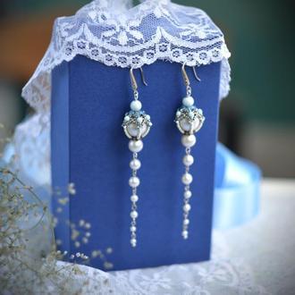 Свадебные серьги, серебристые серьги, длинные серьги для невесты