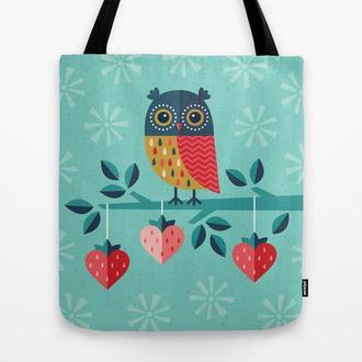 Эко сумка OWL ALWAYS LOVE YOU. Сумка из ткани шоппер, тряпичная сумка. Летняя сумка с рисунком