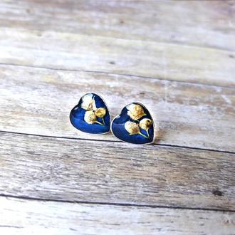 Серьги пуссеты с цветами черемухи