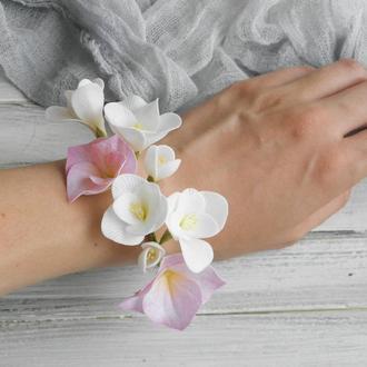 Цветочный браслет на руку Фрезия и гортензия, Свадебный браслет