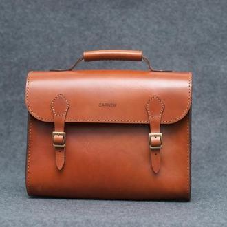 Rufous briefcase. Мужской кожаный портфель