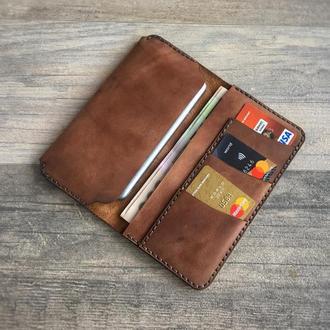 Кожаный портмоне для смартфона, кредиток и налички. Возьми все необходимое с собой! Табачный