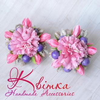 Резиночки с розовыми тюльпанами