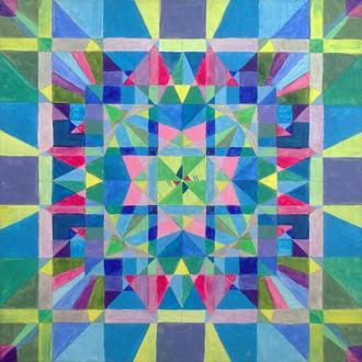 Калейдоскоп глазами ребенка. Абстрактная квадратная картина, авторская абстракция маслом на холсте